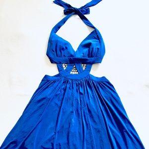 NWT BCBG Blue Cutout Jeweled Mini Dress L